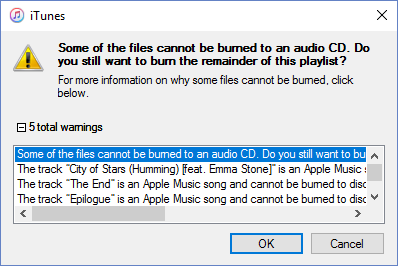 Apple Music Burning Error