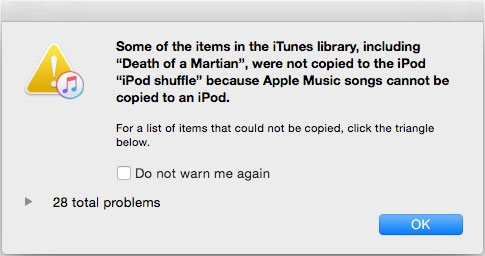 Apple Music Songs Cannot Be Copied to an iPod