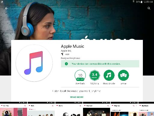 Apple Music on Android tablet