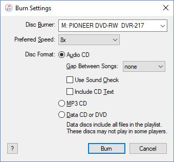 Audiobook Burn Settings