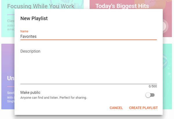 Create Playlist on Google Play