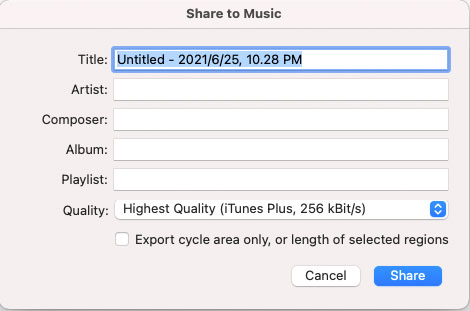 Share Output to iTunes Library in GarageBand