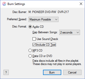 iTunes Burn Settings