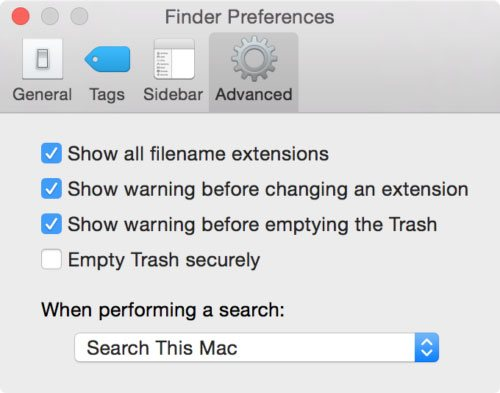 Show Filename Extensions in Mac
