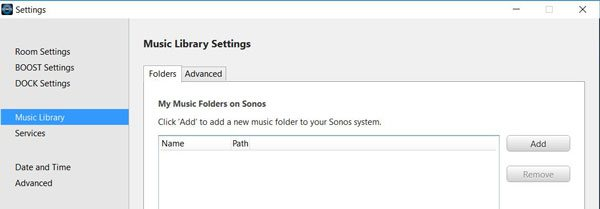 Sonos Music Library Settings