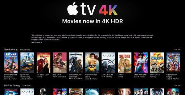 4K HDR Movies for Apple TV