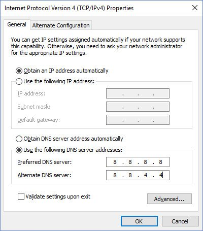 Change DNS Server on Windows