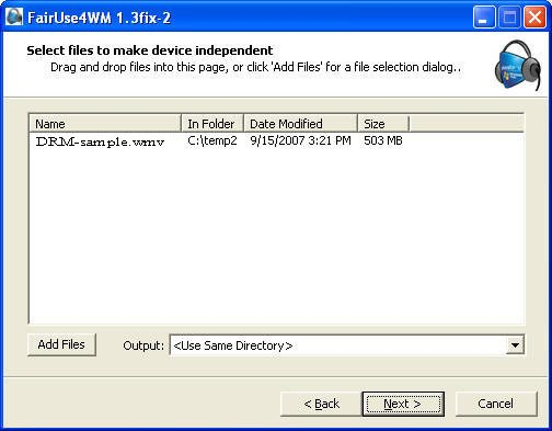 free Windows Media DRM removal software - FairUse4WM