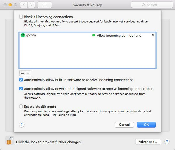 Add Spotify to Firewall Exception on Mac