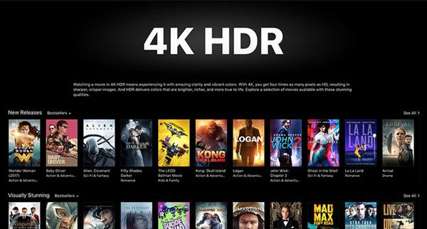 iTunes 4K HDR Movie section