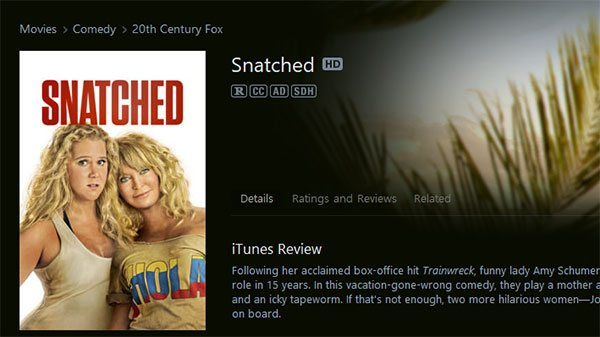 an iTunes Movie with CC, AD and SDH