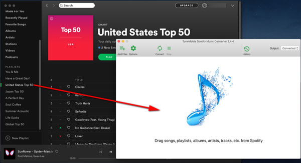 Drag songs from Spotify to Spotify Music Converter